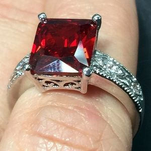 Jewelry - Sz 7 Red & White topaz Sterling Silver Ring